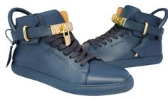 6f842b3163a Blue Mens 100mm Gold Locks High Tops Sneakers 40  Sneakers