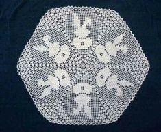 Filet Crochet, Crochet Doily Diagram, Crochet Chart, Thread Crochet, Crochet Doilies, Easter Crochet Patterns, Doily Patterns, Cross Stitch Patterns, Crochet Rabbit