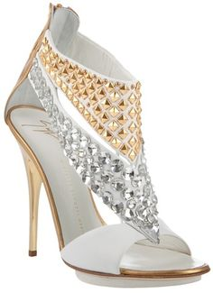 pinterest.com/fra411 #shoes - GIUSEPPE ZANOTTI studded and jeweled white gold high heel sandals