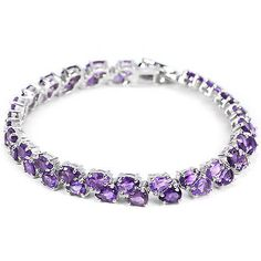 #Silver 925 genuine #natural #amethyst gemstone two row tennis bracelet 7.5 inch,  View more on the LINK: http://www.zeppy.io/product/gb/2/151676004887/