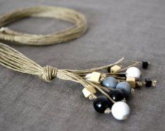 Collar de lino lino collar joyería lino eco cordón de por Feltpoint