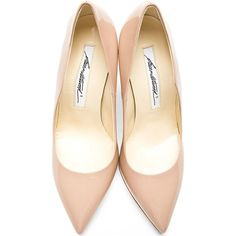 Brian Atwood Taupe Patent Besame Pumps (236 CAD) ❤ liked on Polyvore featuring shoes, pumps, heels, heels stilettos, pointy-toe pumps, brian atwood shoes, patent pumps and pointed-toe pumps