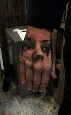 Hand Portrait Tattoo http://tattooideas247.com/hand-lady/