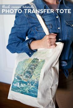 Photo transfer tote tutorial. Use any picture from magazine or print. Very very cool - from Say Yes to Hoboken #DIY
