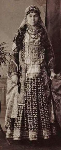 Armenian noble lady in festive dress, from Nakhichevan, c. 1900.