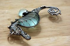 Palest AQUA seahorse wire wrapped seaglass pendant. by palmeras