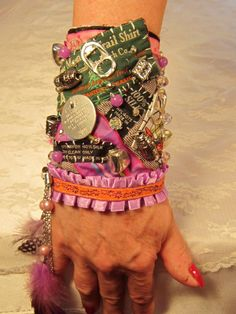 I SHOULD MAKE A MEMORIAL BRACELET FOR MY DOG SADIE Dog Gone It OOAK Fiber Cuff Bracelet by EyecatchersLuxuries
