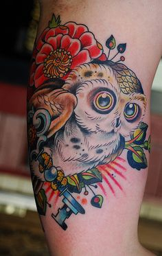 Owl tattoo with rich vibrant color. Owl Tat, Clever Tattoos, Owl Pictures, Sweet Tattoos, Tattoo Removal, Skin Art, Big Tattoo, Tattoo Inspiration, Tatting