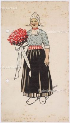 Spijskaart met menu en verso een vrouw in klederdracht met bos bloemen en lint met opschrift. 1915 Drukkerij Levisson #NoordHolland #Volendam