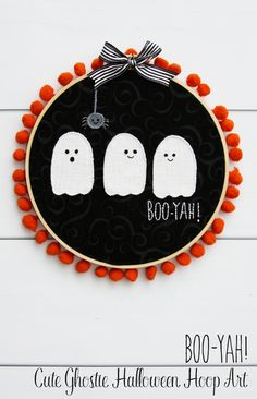 Halloween Decor | Cute Ghostie Halloween Hoop Art