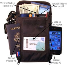 Amazon.com - Wearable Travel Wallet - Fits any size Cell Phone - Multiple Passports - Blocks RFID Scan - 4 Pouch Crossbody - Adjustable Lanyard - Expect Zoggers Outstanding Quality - Carry all accessories safely -