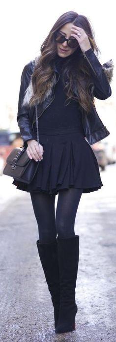 Black Winter Skater Dress