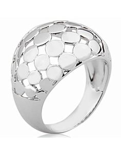 Joolwe.com's Sterling Silver Circle-Swathed Dome Shaped Ring