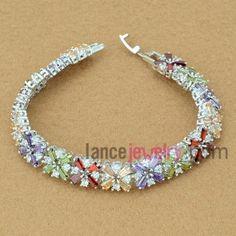 Delicate bracelet with mix color zirconia beads