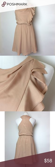 Lovely nude BCBGeneration dress BCBGeneration nude dress with ruffle down left side, pockets and elastic waist.  Fully lined. Like new condition. BCBGeneration Dresses