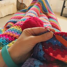 My Granny Stripe blanket nearing the end