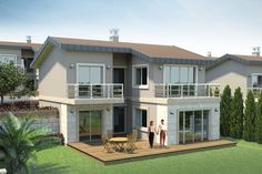 Gallery of new detached house models with veranda - Bileklikler Dream Home Design, My Dream Home, Two Story House Design, Duplex House Plans, Contemporary House Plans, Steel House, Mediterranean Homes, Home Fashion, Bars For Home