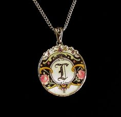 Broken china jewelry pendant necklace sterling silver bail Antique L initial monogram Victorian pink roses
