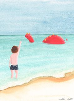 Illustrations and stories by Montse Clotet Puff The Magic Dragon, Dragon Illustration, Kids Stories, Children Books, Beach Waves, Kids Playing, Seaside, Dragons, Childhood
