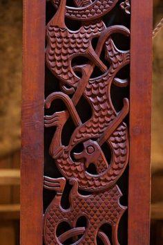 Pagan Roots - Wood carving at the Lofotr Viking Museum