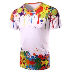 Just US$10.29, buy Colormix 3D Colorful Splatter Paint Short Sleeve T-Shirt online shopping at GearBest.com Mobile.