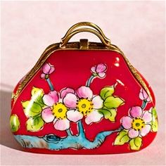 Limoges Red Purse with Flowers Box.