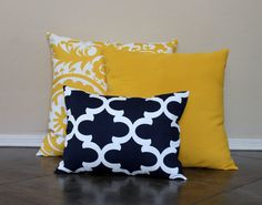 Navy and Yellow Pillow Covers Throw Pillow Covers by HomeMakeOver - Home Sweet Home: Livingroom - Cool Decorative Pillows Yellow Pillow Covers, Yellow Pillows, Gold Pillows, Diy Pillows, Throw Pillow Covers, Throw Pillows, Rustic Decorative Pillows, Decorative Pillow Cases, Pillows
