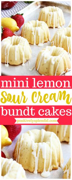 These lemon sour cream mini bundt cakes are a great treat to make for parties, showers and more. Moist, lemony pound cake drizzled with lemon cream cheese glaze make these bite-sized cakes a knockout! Perfect for giving as gifts! Pound Cake Recipes, Easy Cake Recipes, Dessert Recipes, Mini Bunt Cake Recipes, Mini Lemon Bundt Cake Recipe, Mini Desserts, Plated Desserts, Chinese Desserts, Bunt Cakes