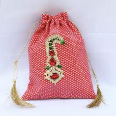 Small Red Zari Potli Wd Kalgi Broach (Click To Buy | Only Rs 400)