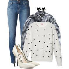 not going to try by fantasia-fashion on Polyvore featuring polyvore fashion style Lacoste J.Crew J Brand Casadei Erstwilder Sweater jean plaid polkadot cat