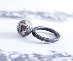 DANDELION  silver ring by OYRZANOWSKA on Etsy