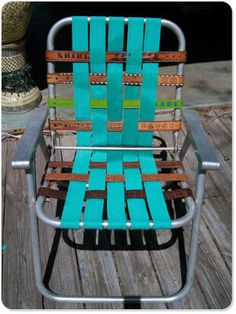 Vintage Aluminum Lawn Chair With Blue Webbing