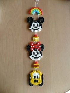 perler beads mickey mouse, minnie mouse, pluto