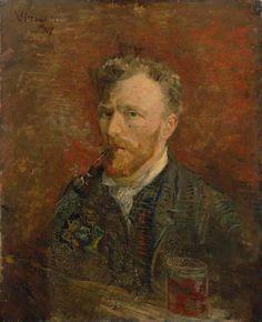 Vincent van Gogh Self portrait with glass, January 1887. Van Gogh Museum, Amsterdam.