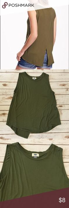 "Old Navy Spliced Back Olive Tank Top Worn once olive tank top with spliced back by old navy. Measures from pit to pit 21"" and length 22"". No rips stains or marks. Old Navy Tops Tank Tops"