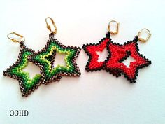Seed Bead Jewelry, Bead Earrings, Gemstone Earrings, Beaded Jewelry, Crochet Earrings, Jewellery, Seed Bead Patterns, Beading Patterns, Christmas Crochet Patterns