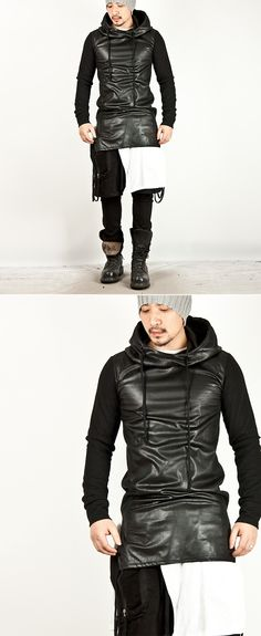 Tops - ★SOLD-OUT★ LEATHER CONTRAST BLACK SLIM HOODIE - 49 for only 66.00 !!!