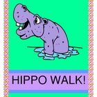 """""""HIPPO WALK!"""" - ACTIVE GAME & SONG!  """"Hip-Hip-Hip Hippo Walk!  Shhhh!  Do you hear that Hippo Talk?""""  Circles are everywhere in this funny Group Game about a Hippo's very interesting day!  Make the Hippo craft (template included) and gather a few Hula-Hoops.  Now you're ready for dramatic play!  Your Hippos will rise and shine, do Hippo 'grooming', hunt for food, and take a noisy (snoring!) Hippo nap!  Your Pre-K-K kids will love playing this """"circle-finding"""" activity on rainy days!  (6…"""