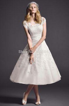 Free shipping short wedding dress bride lace robe de mariee 2016 tea length beach wedding dresses gowns vestido de noiva curto