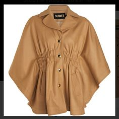 Sunner Beige Euston Mini Cape Coat Beautiful Sunner Beige Euston Mini Cape Coat with gold snap buttons. Amazing top quality wool and recently dry cleaned. Minor pilling on inside satin liner. Sunner Jackets & Coats Capes