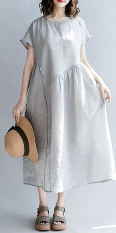 top quality gray natural linen dress oversize o neck patchwork linen maxi dress 2018 short sleeve baggy dresses Baggy Dresses, Plus Size Maxi Dresses, Linen Dresses, Short Beach Dresses, Maxi Dress With Sleeves, Women's Fashion Dresses, Fashion 2018, Clothes For Women, Natural Linen