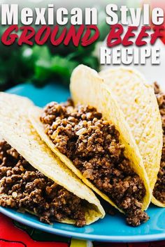 This Mexican style ground beef is the perfect recipe for stuffing tacos, enchila. - This Mexican style ground beef is the perfect recipe for stuffing tacos, enchiladas, or burritos. Authentic Mexican Recipes, Authentic Taco Recipe, Taco Meat Seasoning, Ground Beef Seasoning, Burrito Seasoning Recipe, Ground Beef Quesadillas, Ground Beef Tacos, Meat Recipes, Mexican Food Recipes