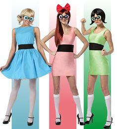 Best for three people – the powerpuff girls costume. Cosplay as the famous superpowered trio of little girls from the popular cartoon series from the Fight evil and mostly mojo jojo in these fun costumes for girls.