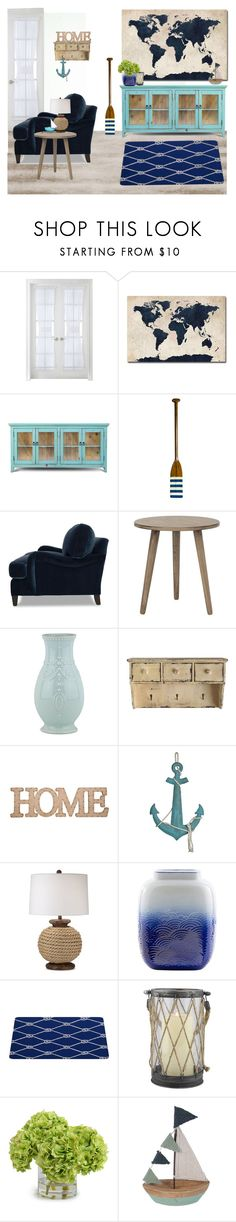 """Nautical"" by georgeismail ❤ liked on Polyvore featuring interior, interiors, interior design, home, home decor, interior decorating, Liz Claiborne, Trademark Fine Art, Authentic Models and Mitchell Gold + Bob Williams"