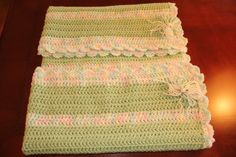 """Baby Blanket - Mint Green Variegated 37"""" 37"""" $40 +shipping"""