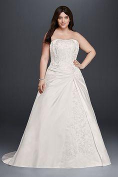b62ca57eaae Satin Draped A-Line Plus Size Strapless Wedding Dress - White