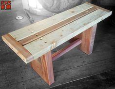 Nativo Redwood. Banca con asientos de tablas de roble rústico con base de maderos de una pieza con travesaño. Dimensiones: 0.35x1.00