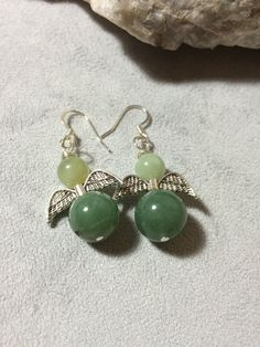 Green Adventurine and Jade Angel Earring by AlisonsGemstones on Etsy