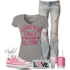 """Converse Chuck Taylor V T-Shirt"" my fave way to dress! Comfy in jeans, a T and sneaks!"