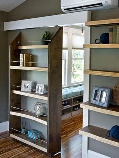 Items Similar To Two Floating Shelves With Sliding Doors . Murphy Door Store Hidden Door Bookshelves Hardware More. Home Design Ideas Home Diy, Doors, Home, Bookcase Door, House Design, Hidden Rooms, House Interior, Barn Doors Sliding, Room Design